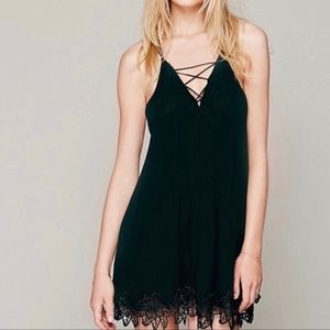Free People Blue Strappy Emroidered Slip